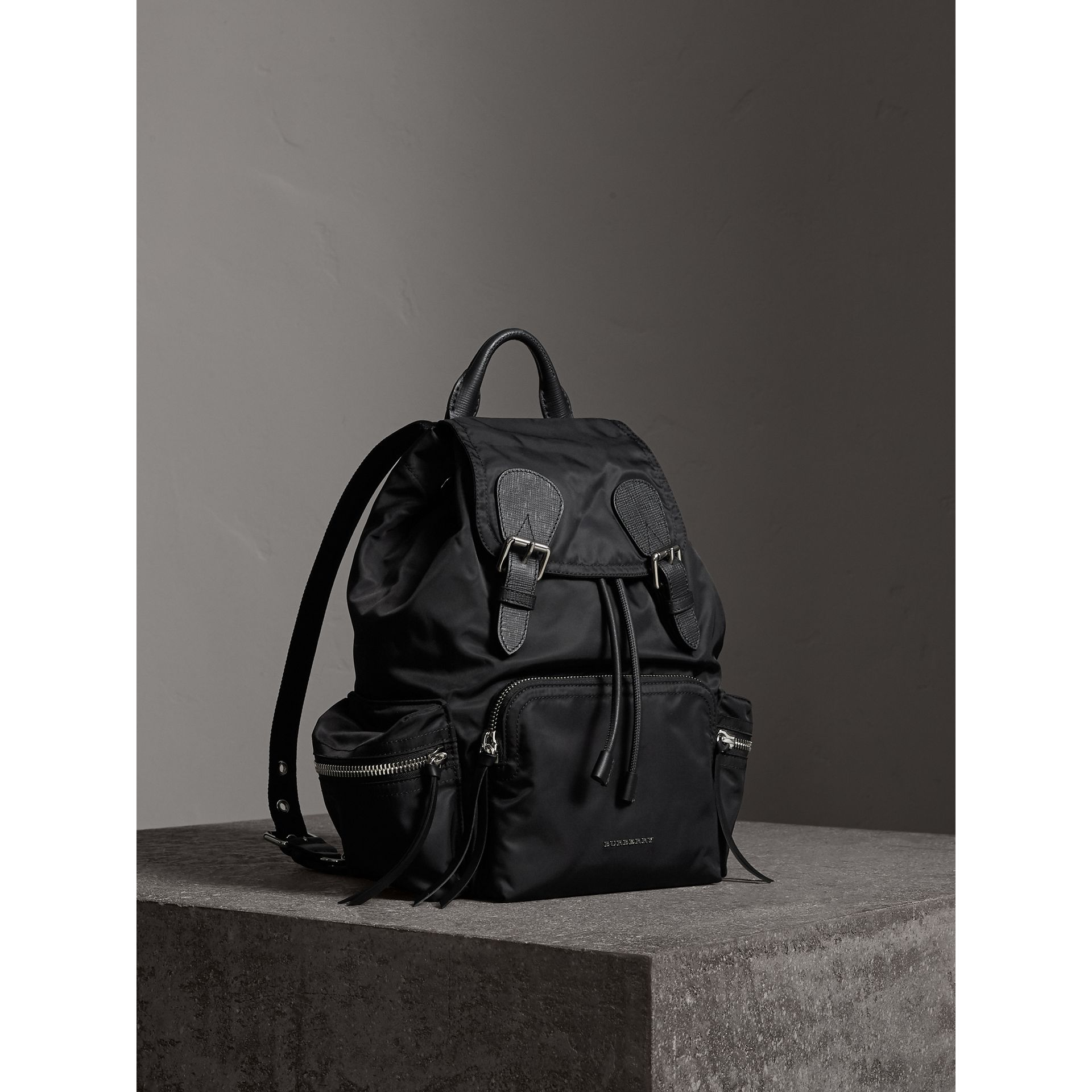 The Medium Rucksack in Nylon and Leather in Black/black - Women | Burberry - gallery image 8