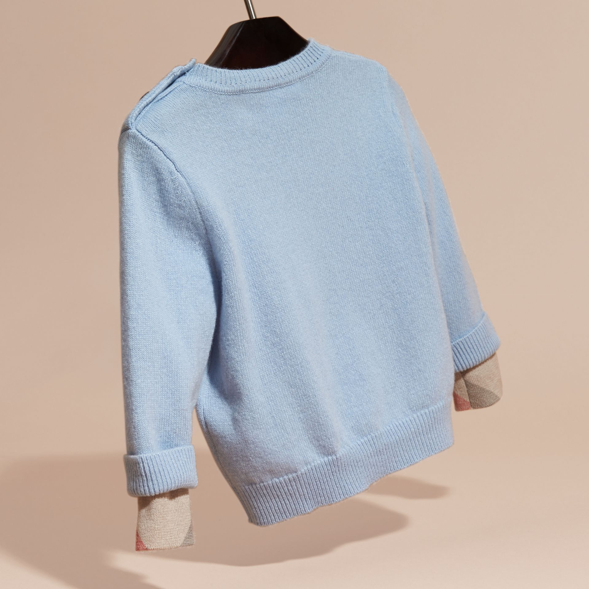 Pale cornflower blue Check Detail Cashmere Sweater Pale Cornflower Blue - gallery image 4