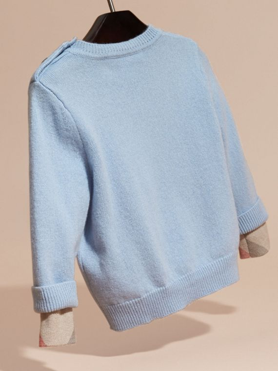 Pale cornflower blue Check Detail Cashmere Sweater Pale Cornflower Blue - cell image 3
