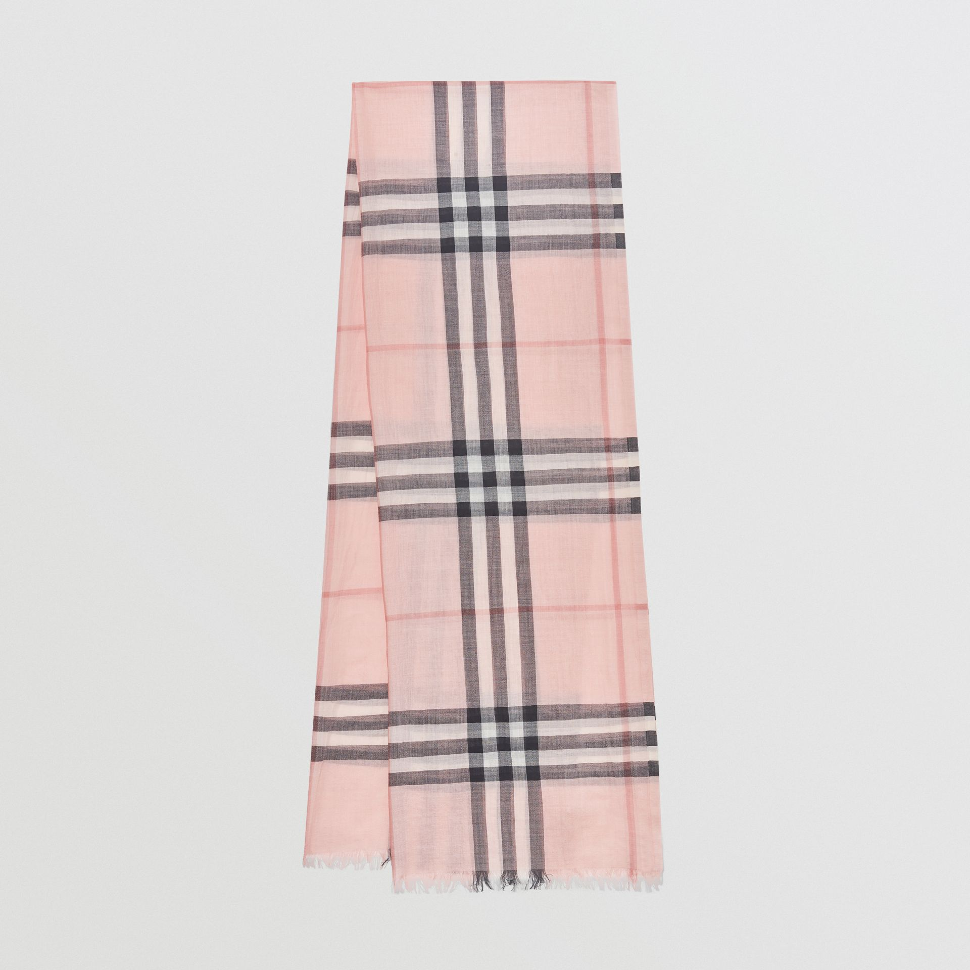 Lightweight Check Wool and Silk Scarf in Ash Rose | Burberry Australia - gallery image 0