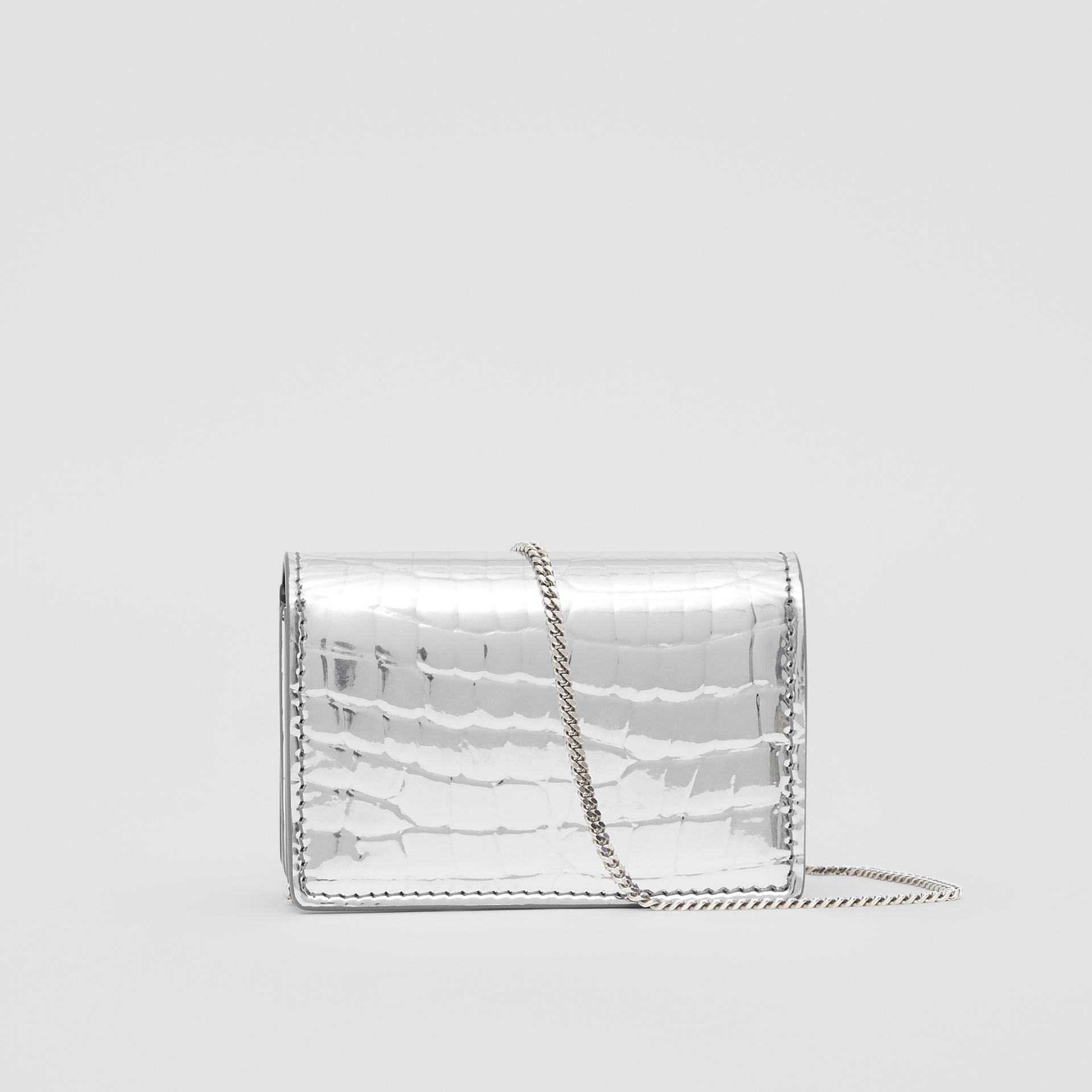 Metallic Embossed Card Case with Detachable Strap in Silver | Burberry United Kingdom - gallery image 8