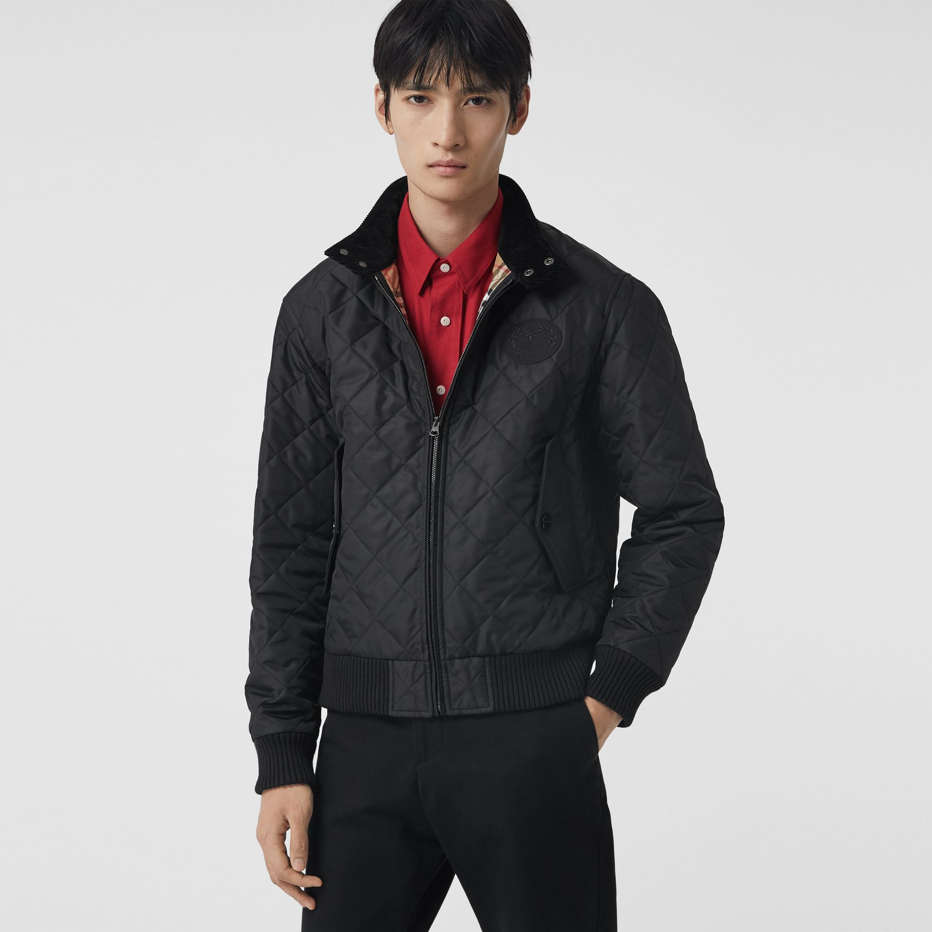 Diamond Quilted Thermoregulated Harrington Jacket in Black - Men | Burberry - gallery image 5