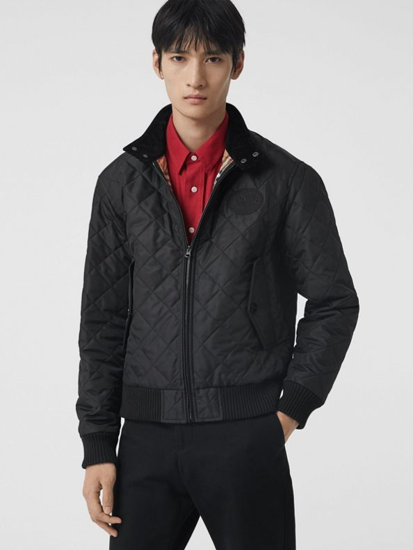 Diamond Quilted Thermoregulated Harrington Jacket in Black