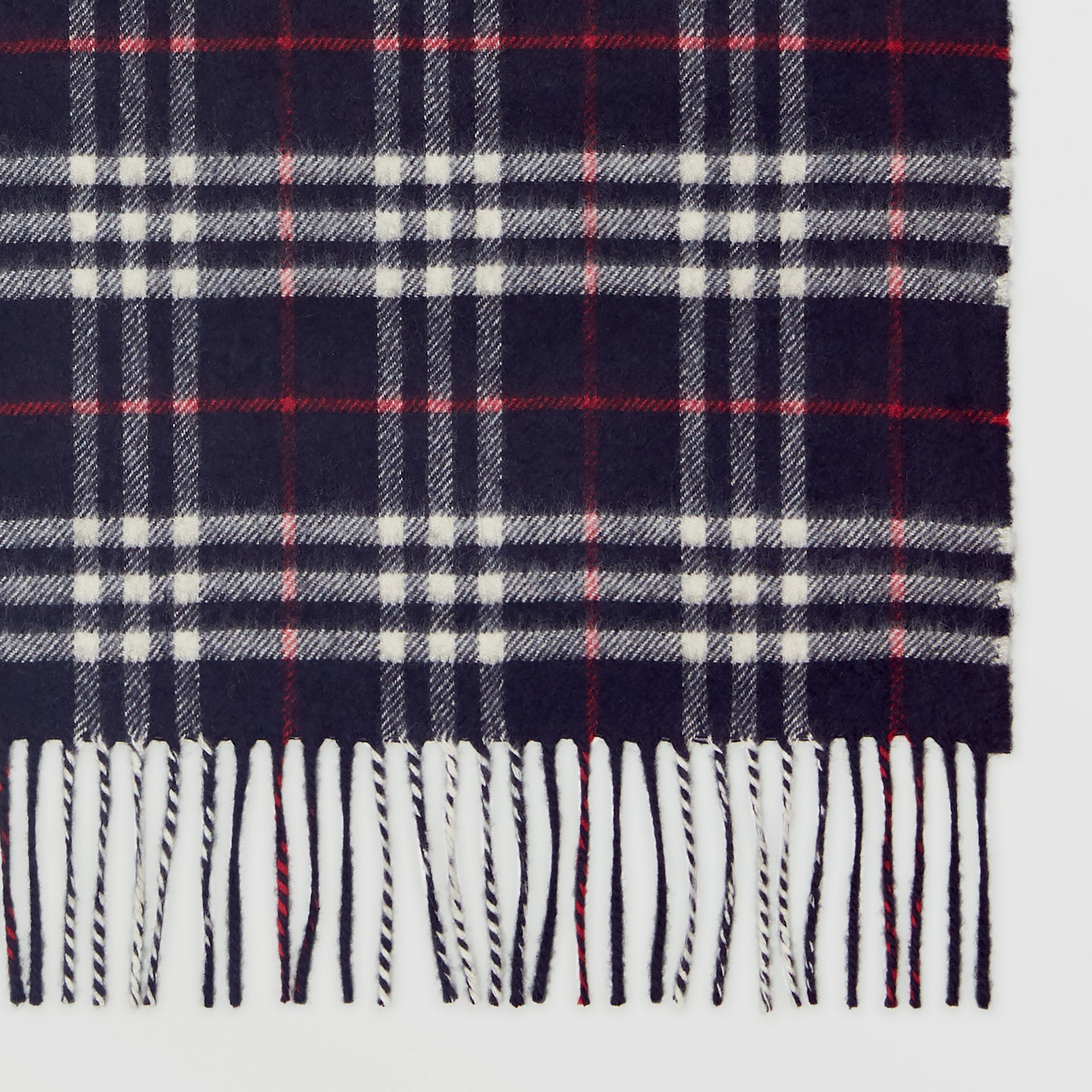 Check Cashmere Scarf in Navy | Burberry - gallery image 1