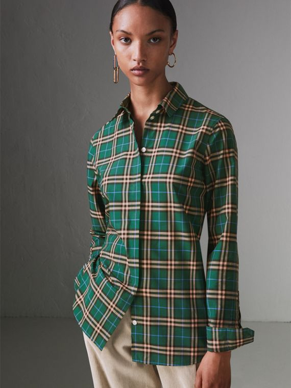 Check Cotton Shirt in Dark Forest Green
