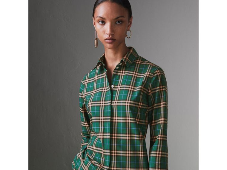 Check Cotton Shirt in Dark Forest Green - Women | Burberry - cell image 4