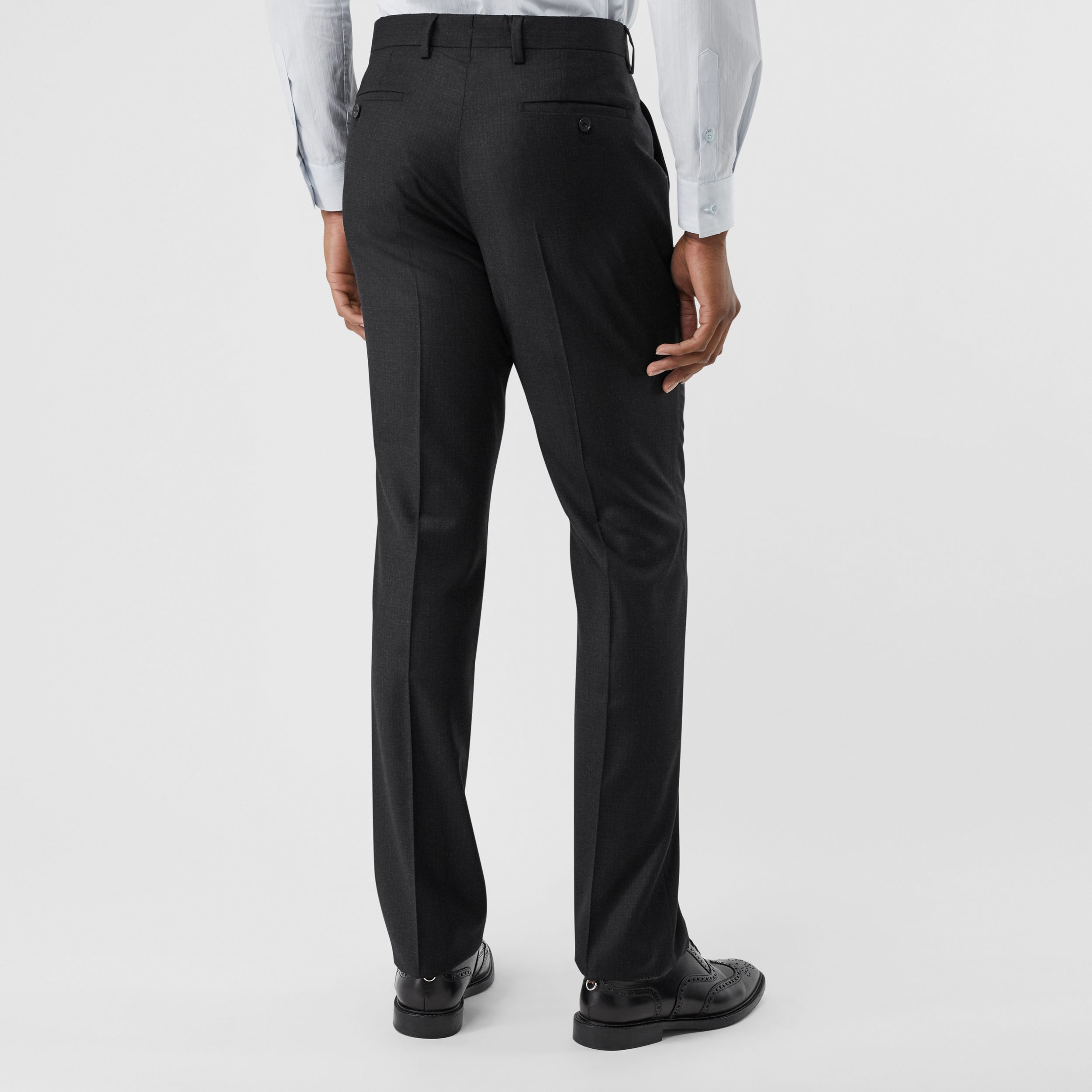 Classic Fit Wool Flannel Tailored Trousers in Black - Men | Burberry - 3