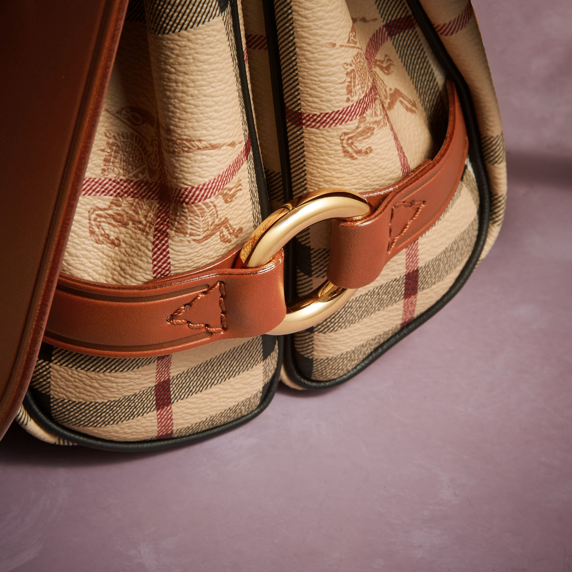 The Bridle Bag in Leather and Haymarket Check - Women | Burberry - gallery image 6