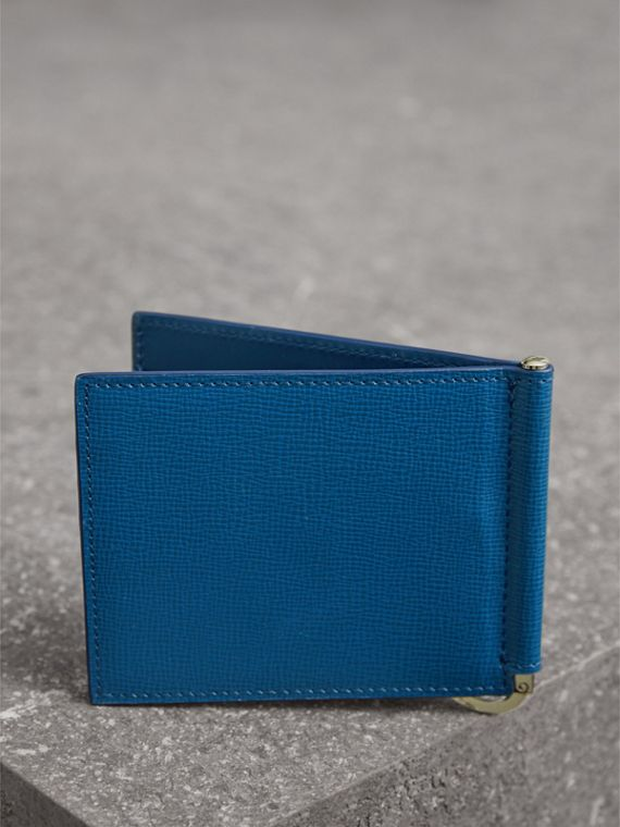 London Leather Money Clip Card Wallet in Deep Blue - Men | Burberry - cell image 2