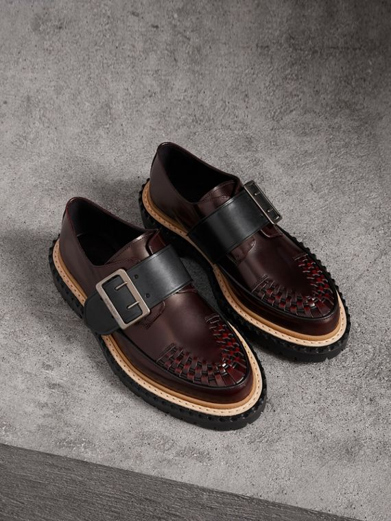 Woven-toe Leather Shoes in Bordeaux