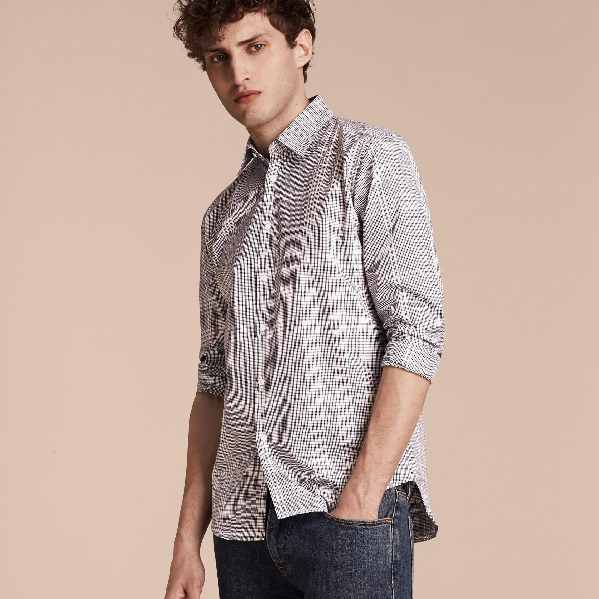 Azul marino intenso Camisa en algodón con estampado de checks Azul Marino Intenso - imagen de la galería 6