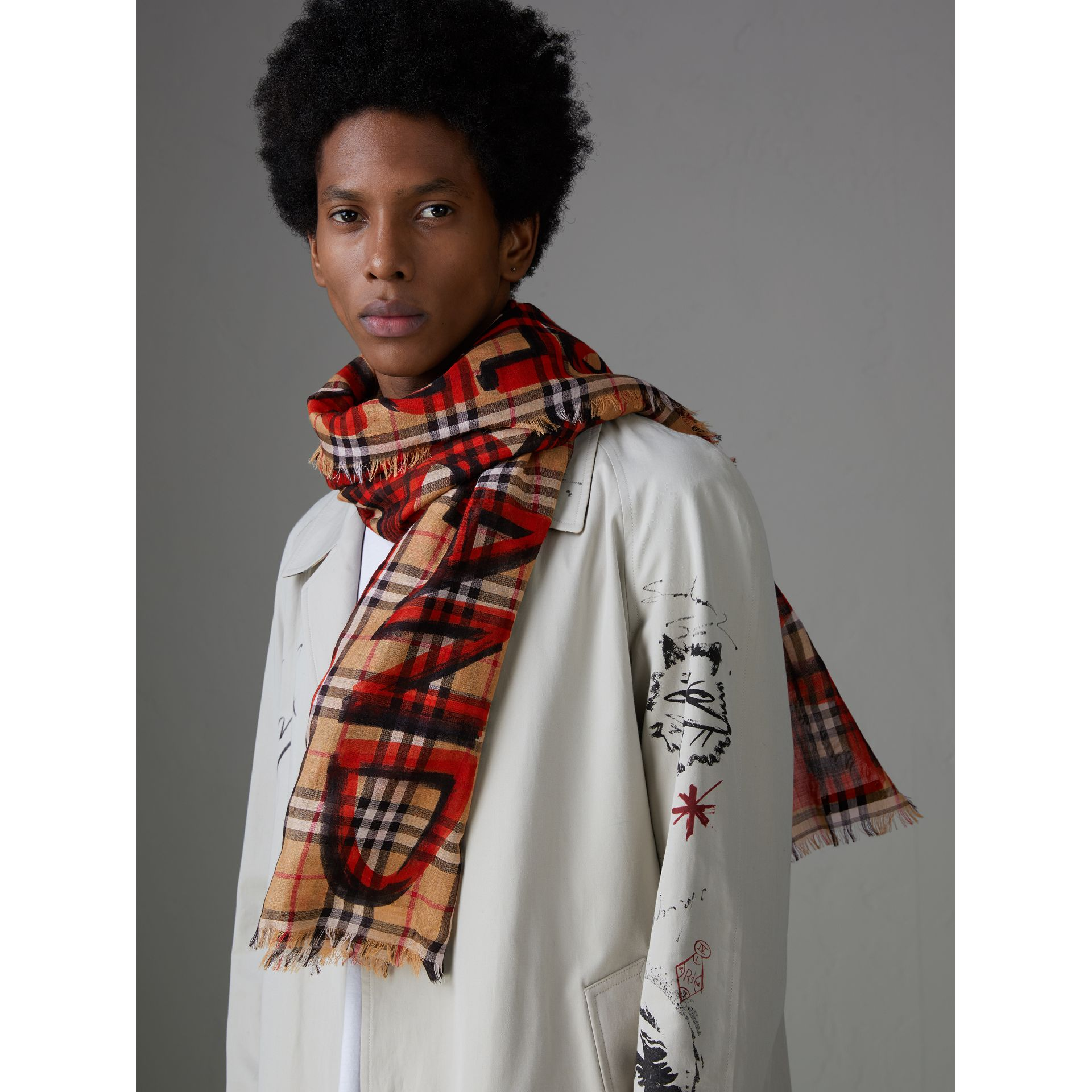 Graffiti Print Check Wool Silk Large Square Scarf in Bright Red | Burberry - gallery image 6