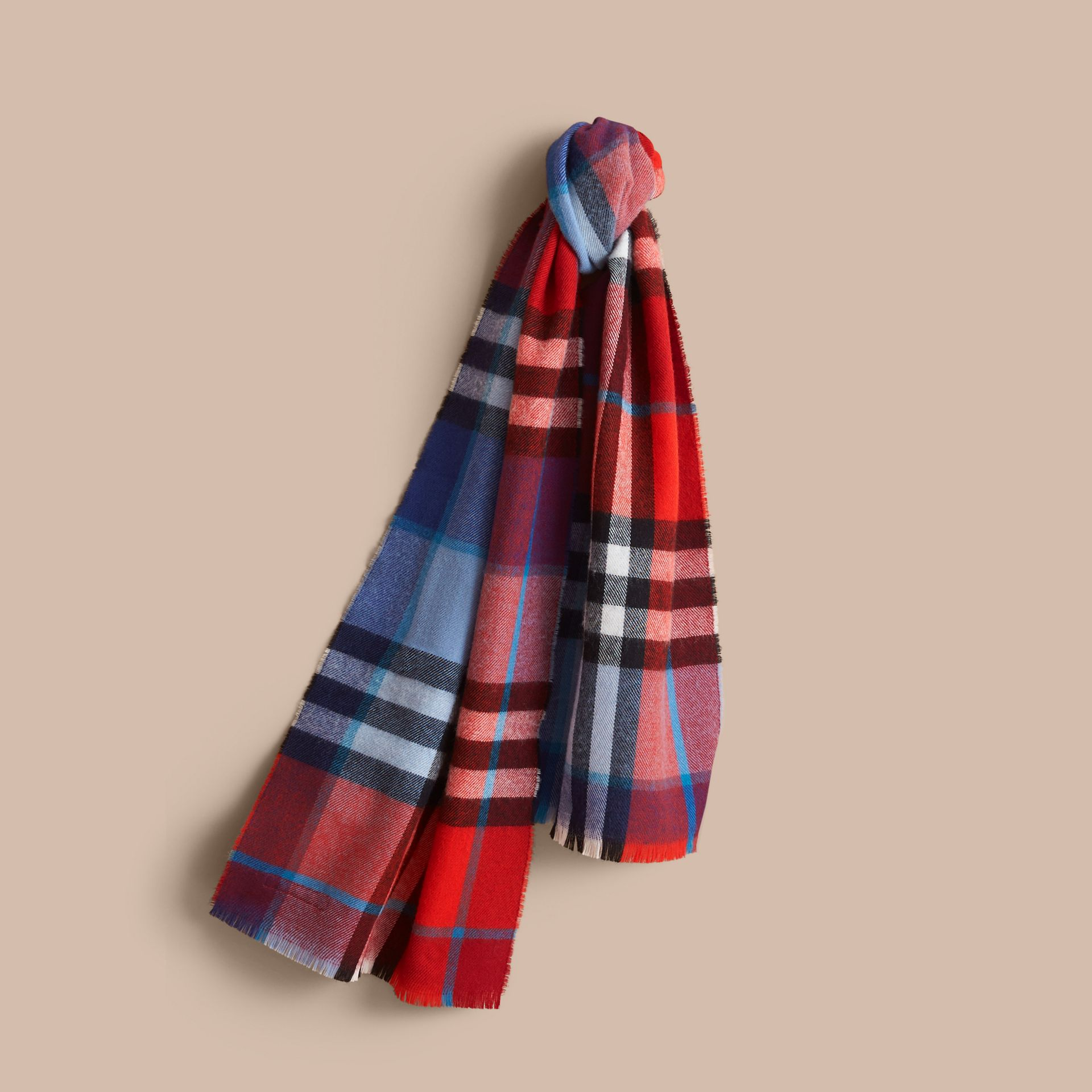 Overdyed Exploded Check Merino Wool Scarf in Bright Orange Red/cornflower Blue | Burberry Singapore - gallery image 1