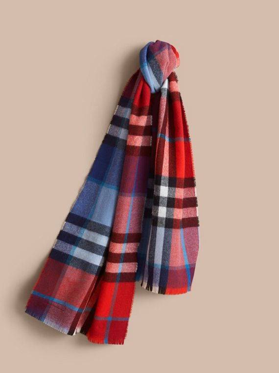 Overdyed Exploded Check Merino Wool Scarf in Bright Orange Red/cornflower Blue