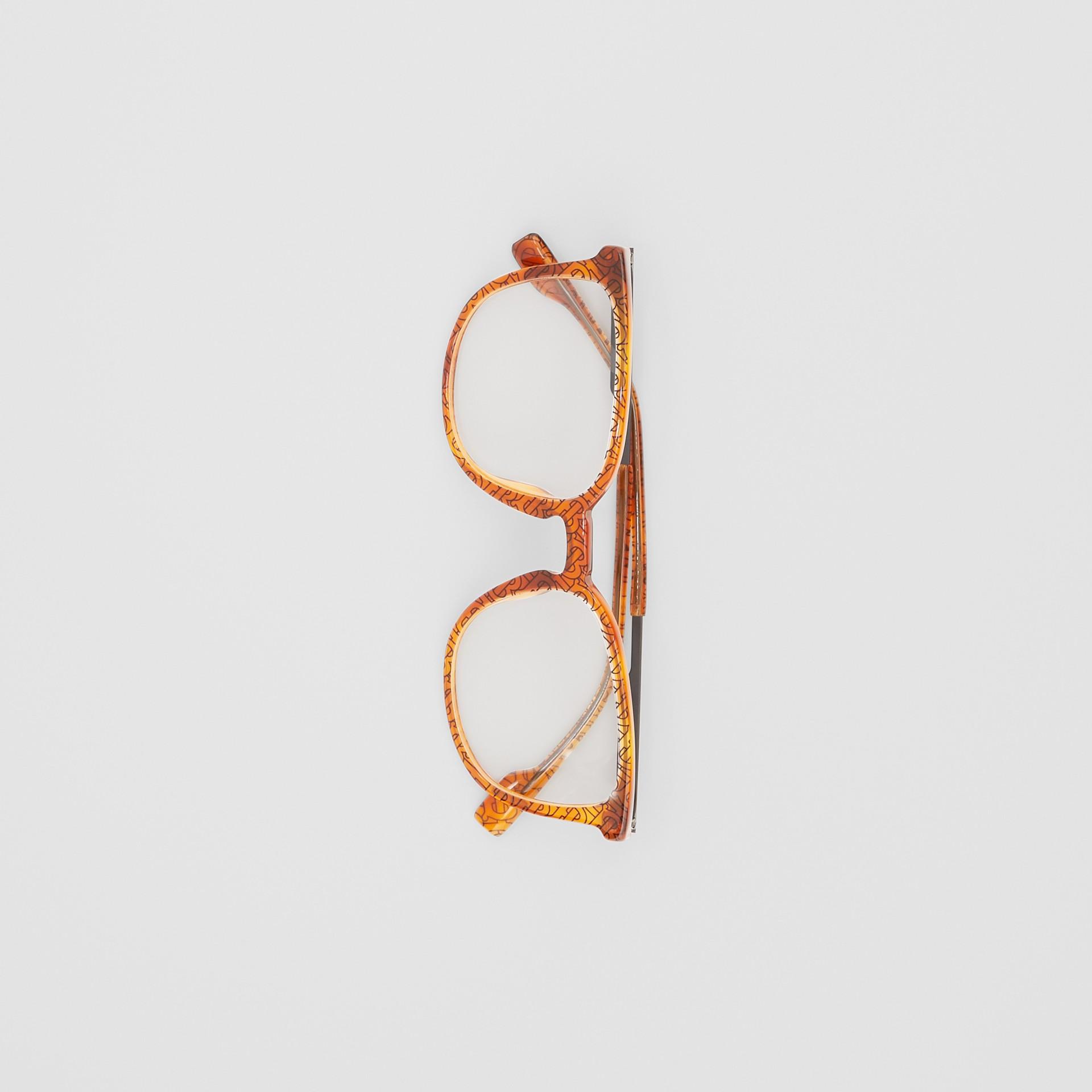 Monture carrée pour lunettes de vue Monogram (Ambre Écaille  Tortue) | Burberry Canada - photo de la galerie 3