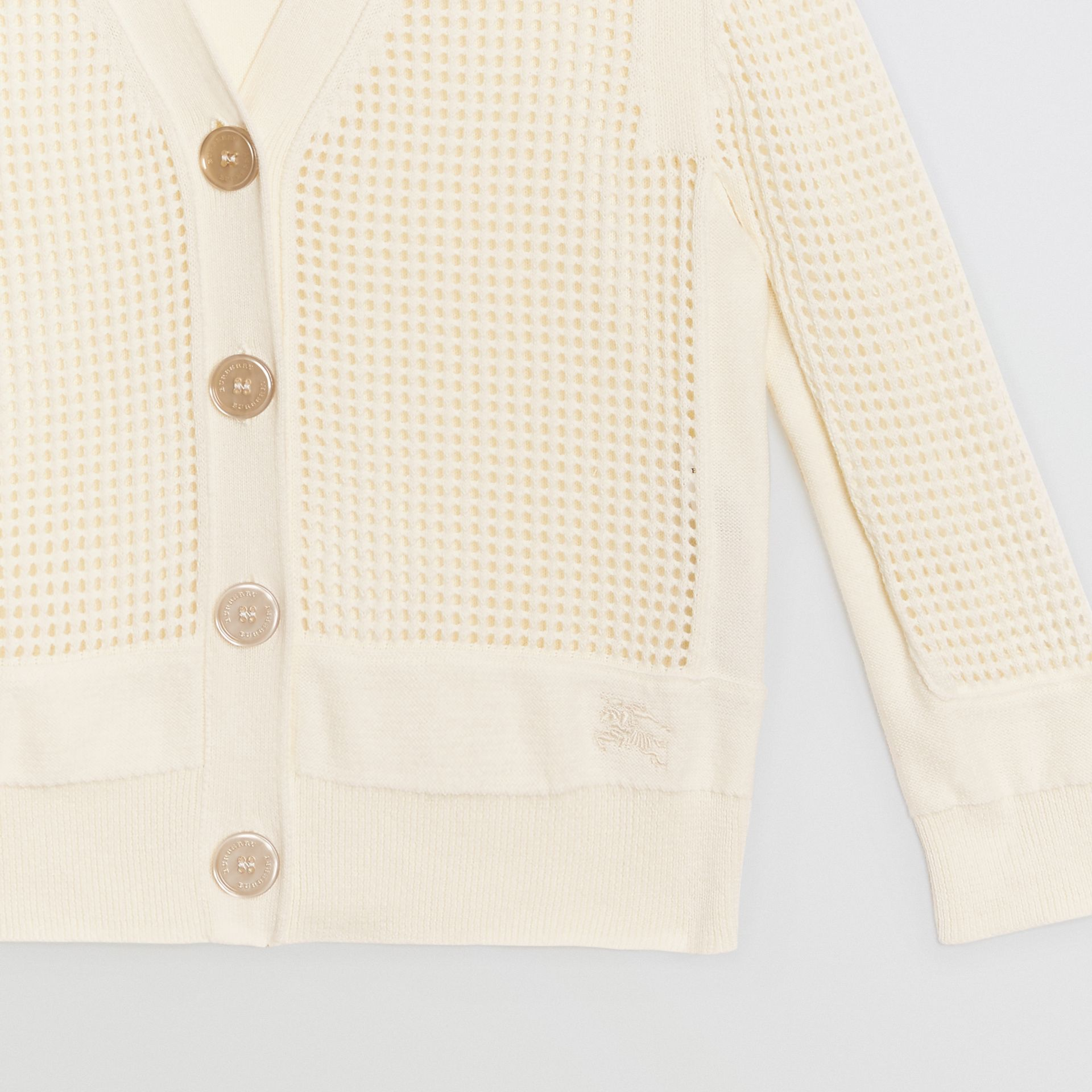 Open Knit Cotton V-neck Cardigan in Ivory | Burberry - gallery image 4