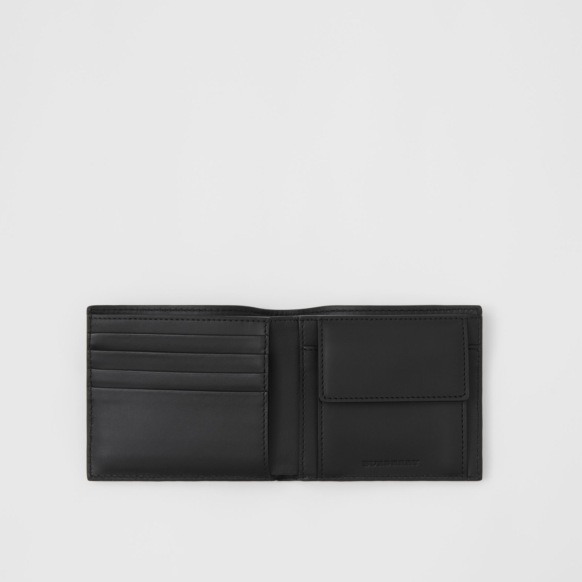 Small Scale Check and Leather Bifold Coin Wallet in Antique Yellow/black - Men | Burberry - gallery image 2