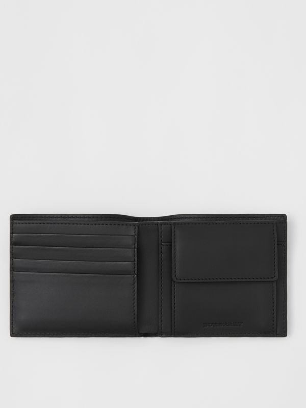 Small Scale Check and Leather Bifold Coin Wallet in Antique Yellow/black - Men | Burberry - cell image 2