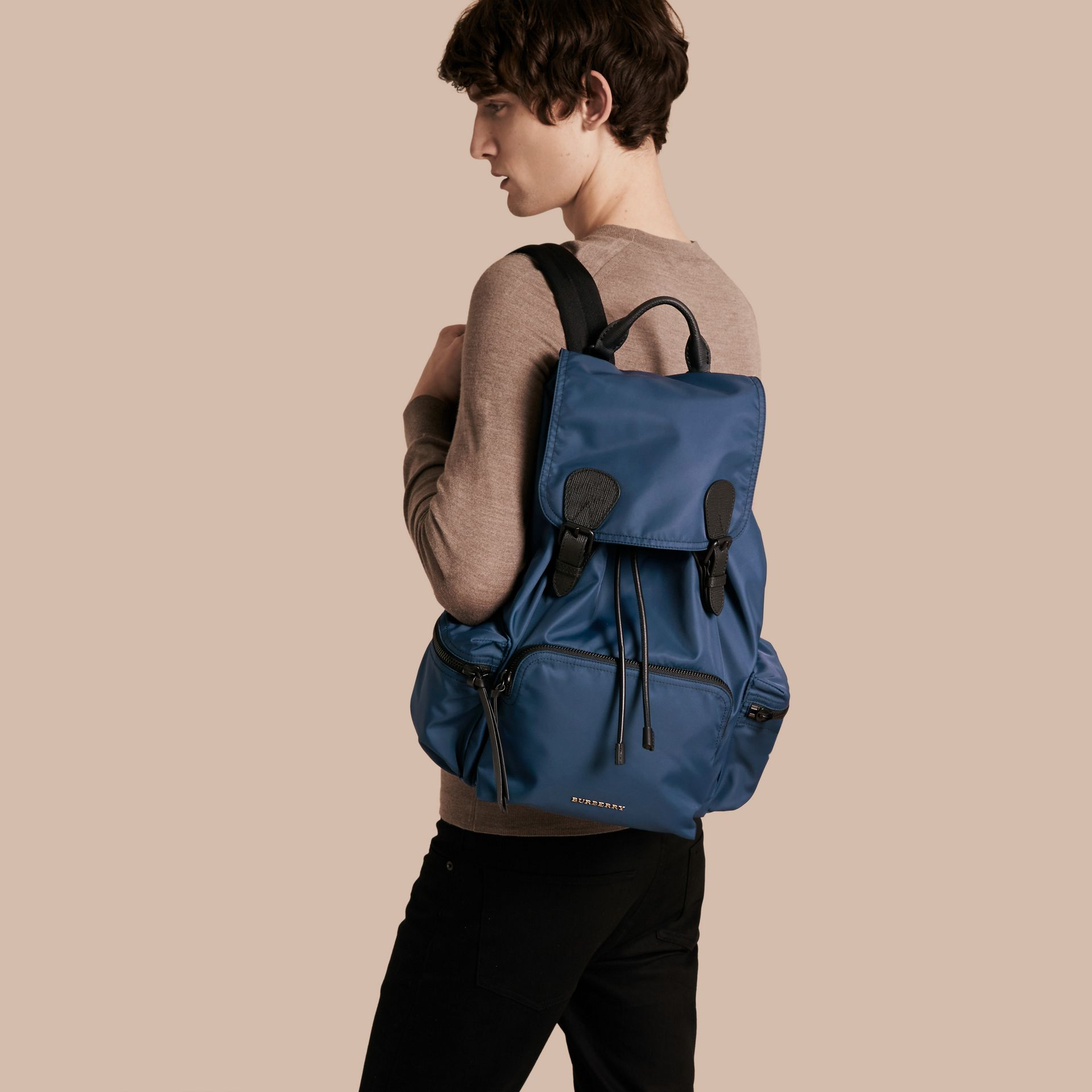 The Large Rucksack in Technical Nylon and Leather Steel Blue - gallery image 3