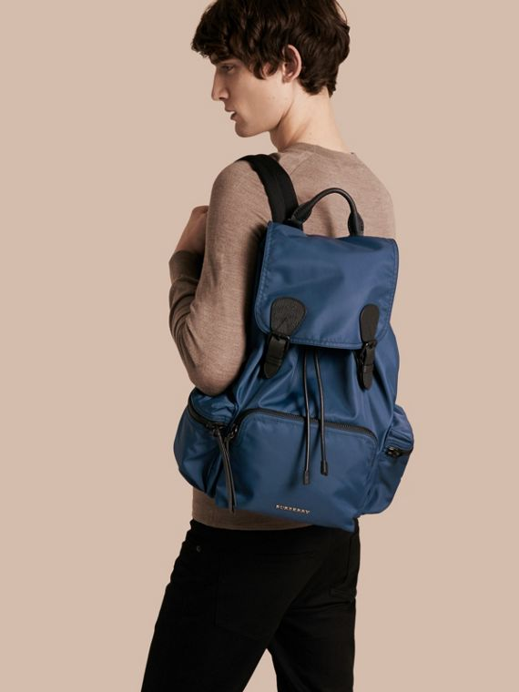 The Large Rucksack in Technical Nylon and Leather Steel Blue - cell image 2