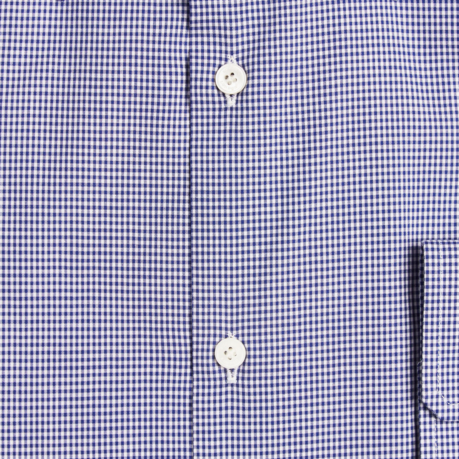 Modern Fit Gingham Cotton Poplin Shirt Dark Empire Blue - gallery image 2