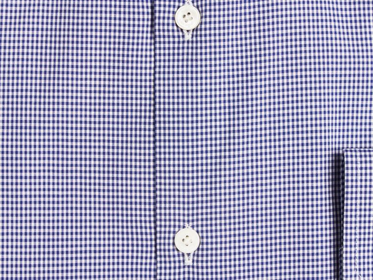Modern Fit Gingham Cotton Poplin Shirt in Dark Empire Blue - cell image 1