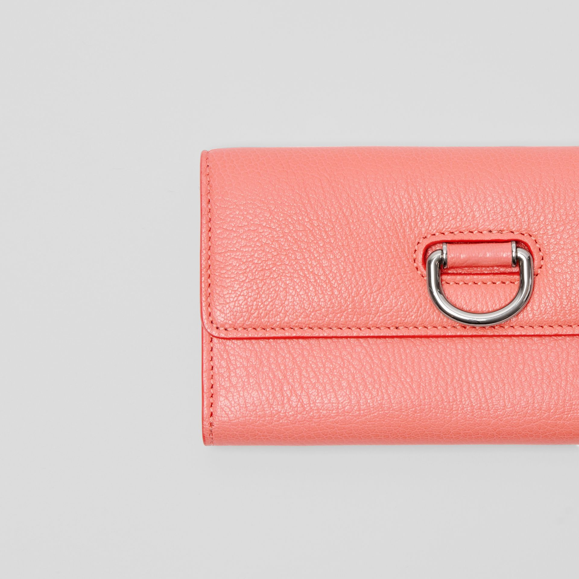 D-ring Grainy Leather Continental Wallet in Bright Coral Pink - Women | Burberry - gallery image 1