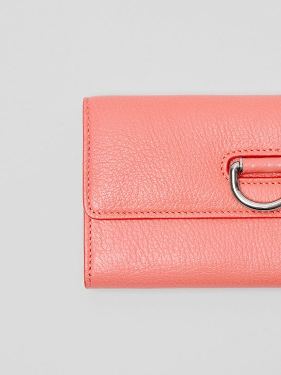 D-ring Grainy Leather Continental Wallet in Bright Coral Pink - Women | Burberry - cell image 1