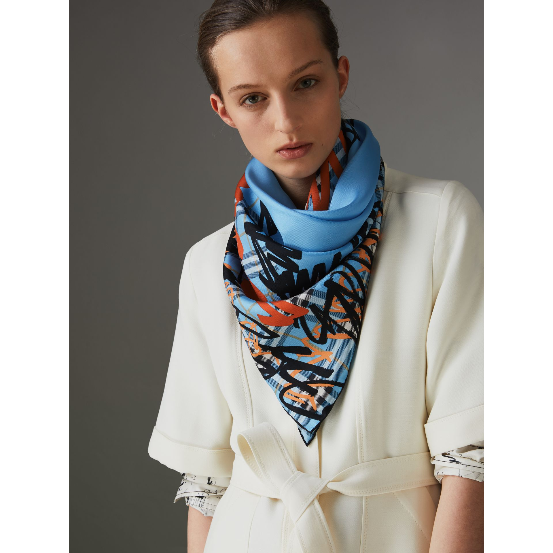 Scribble Check Silk Square Scarf in Light Azure | Burberry - gallery image 2