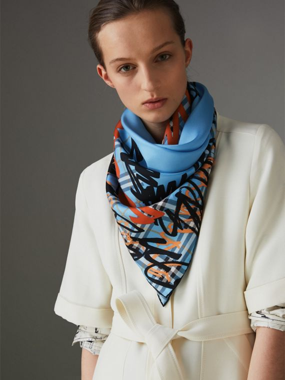 Scribble Check Silk Square Scarf in Light Azure | Burberry - cell image 2