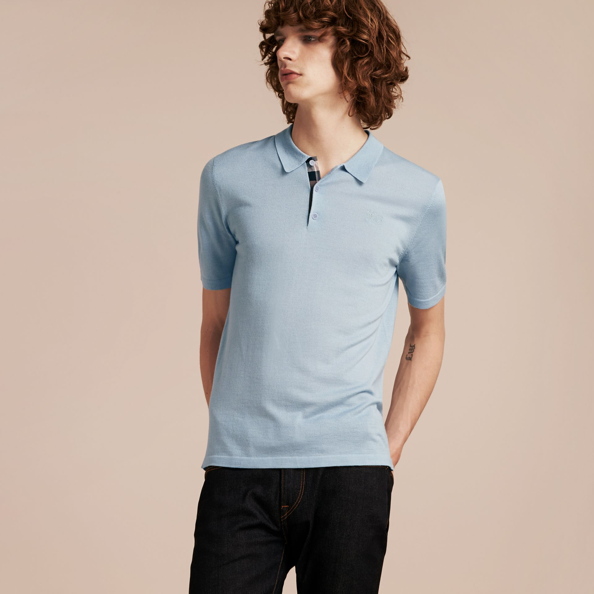 Pale sky blue Check Placket Wool and Silk Blend Polo Shirt Pale Sky Blue - gallery image 6