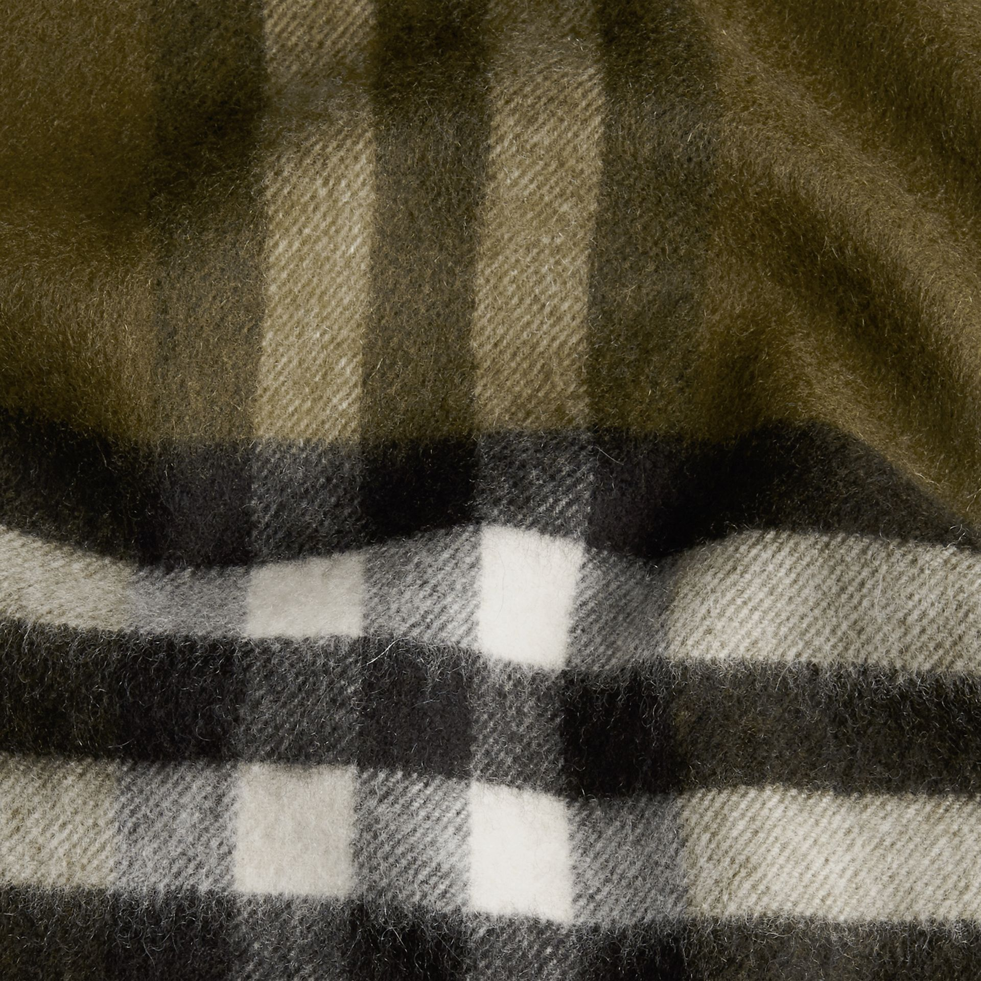 The Classic Cashmere Scarf in Check Olive Green - gallery image 5