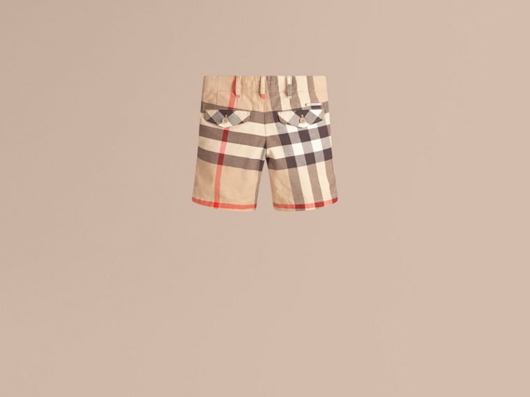 Check Cotton Chino Shorts in Classic - Boy | Burberry - cell image 1
