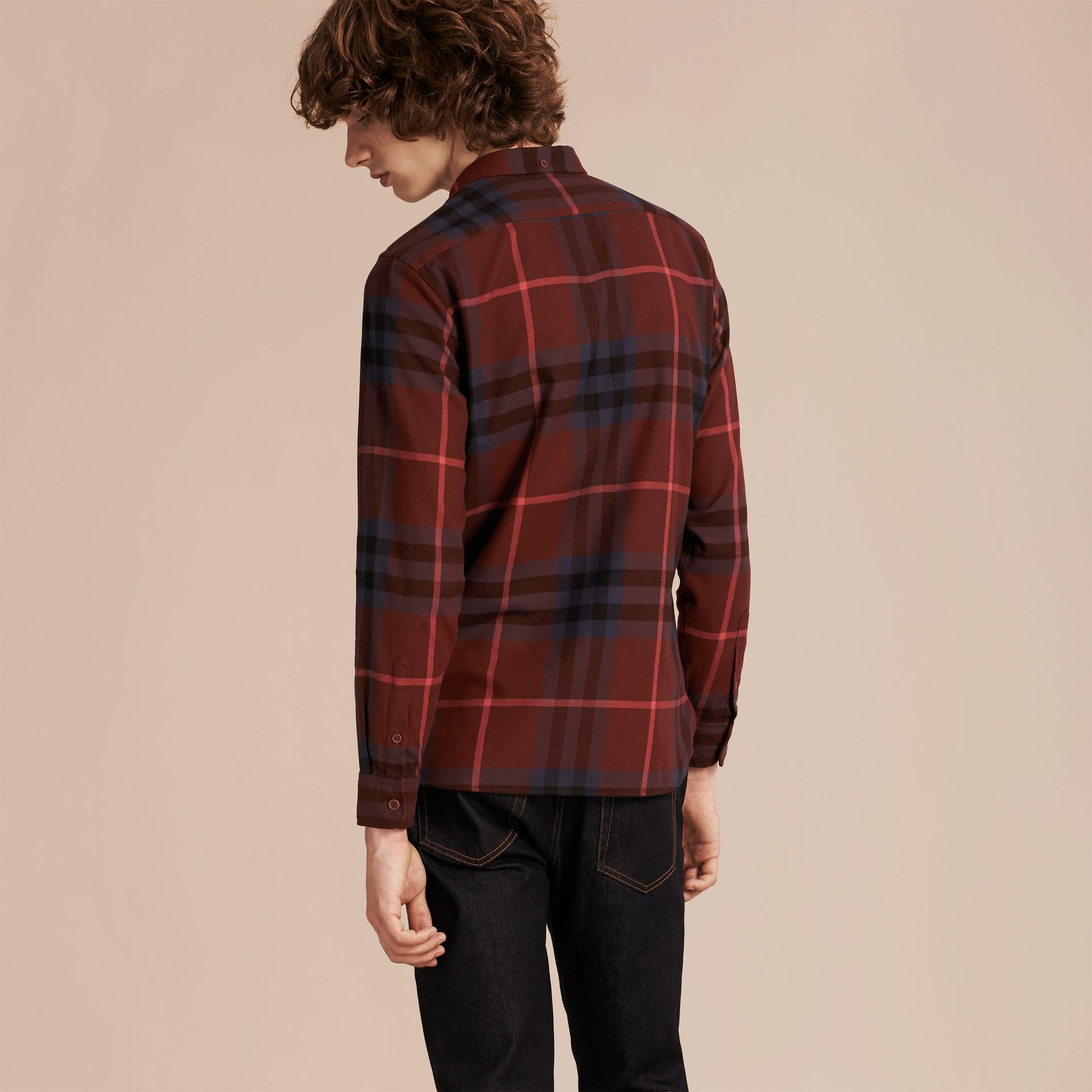 Dark elderberry Check Cotton Flannel Shirt Dark Elderberry - gallery image 3