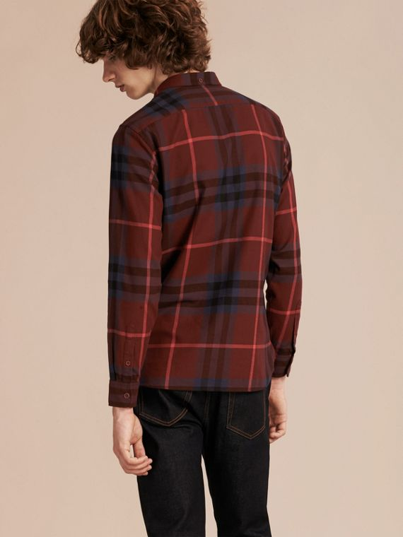 Dark elderberry Check Cotton Flannel Shirt Dark Elderberry - cell image 2