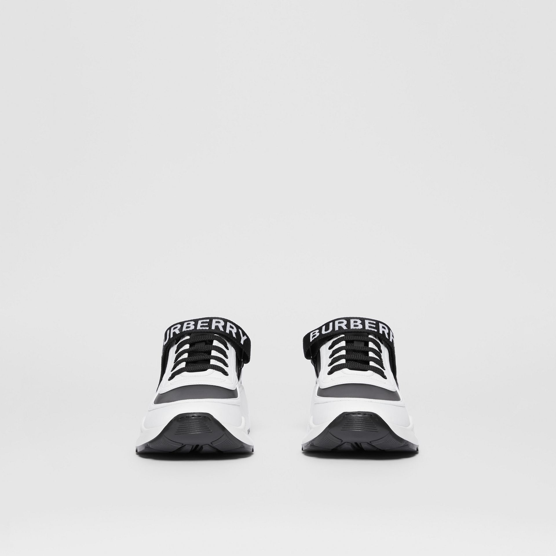 Logo Detail Leather and Nylon Sneakers in Black/optic White - Men | Burberry United Kingdom - gallery image 3