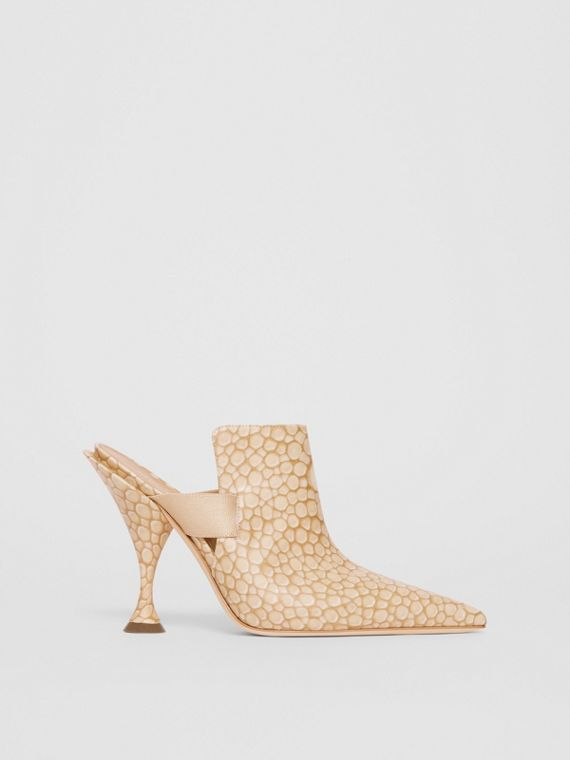 Stingray Print Leather Point-toe Mules in Light Sand