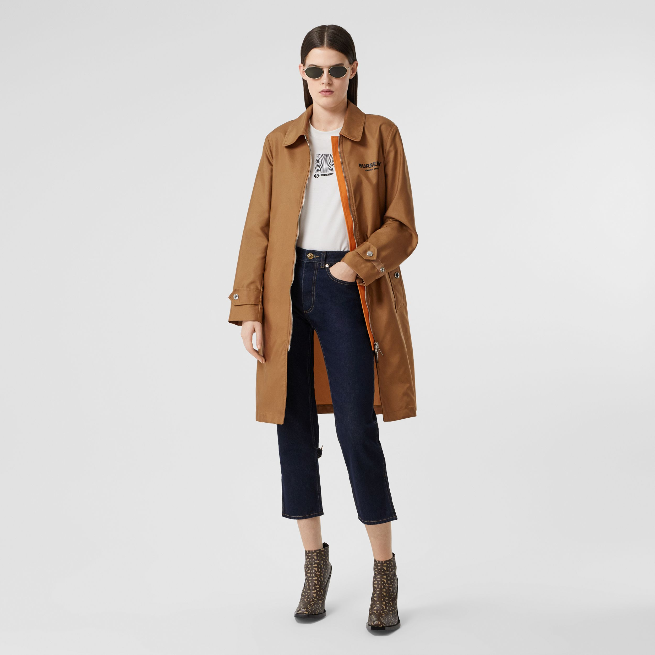 Logo Appliqué Technical Canvas Coat in Camel - Women | Burberry Hong Kong S.A.R. - 1
