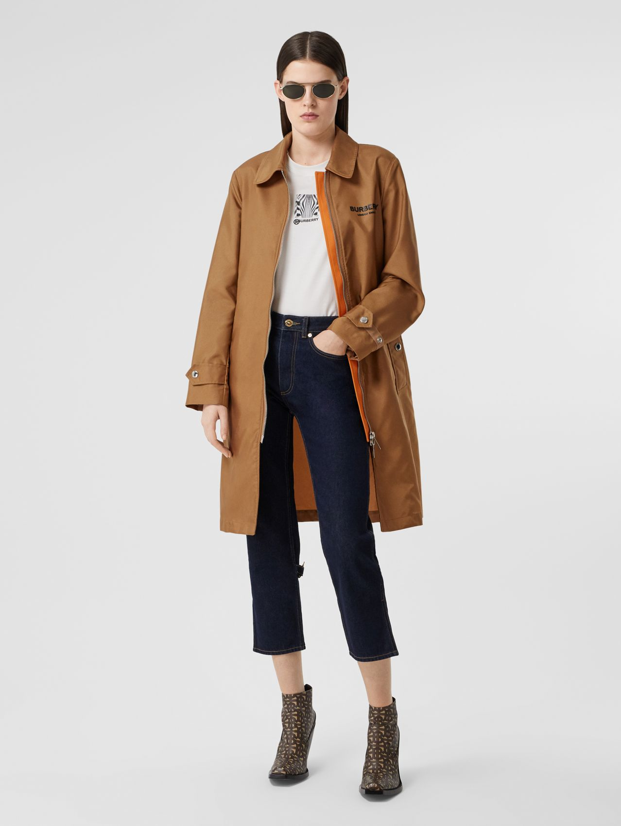 Logo Appliqué Technical Canvas Coat in Camel