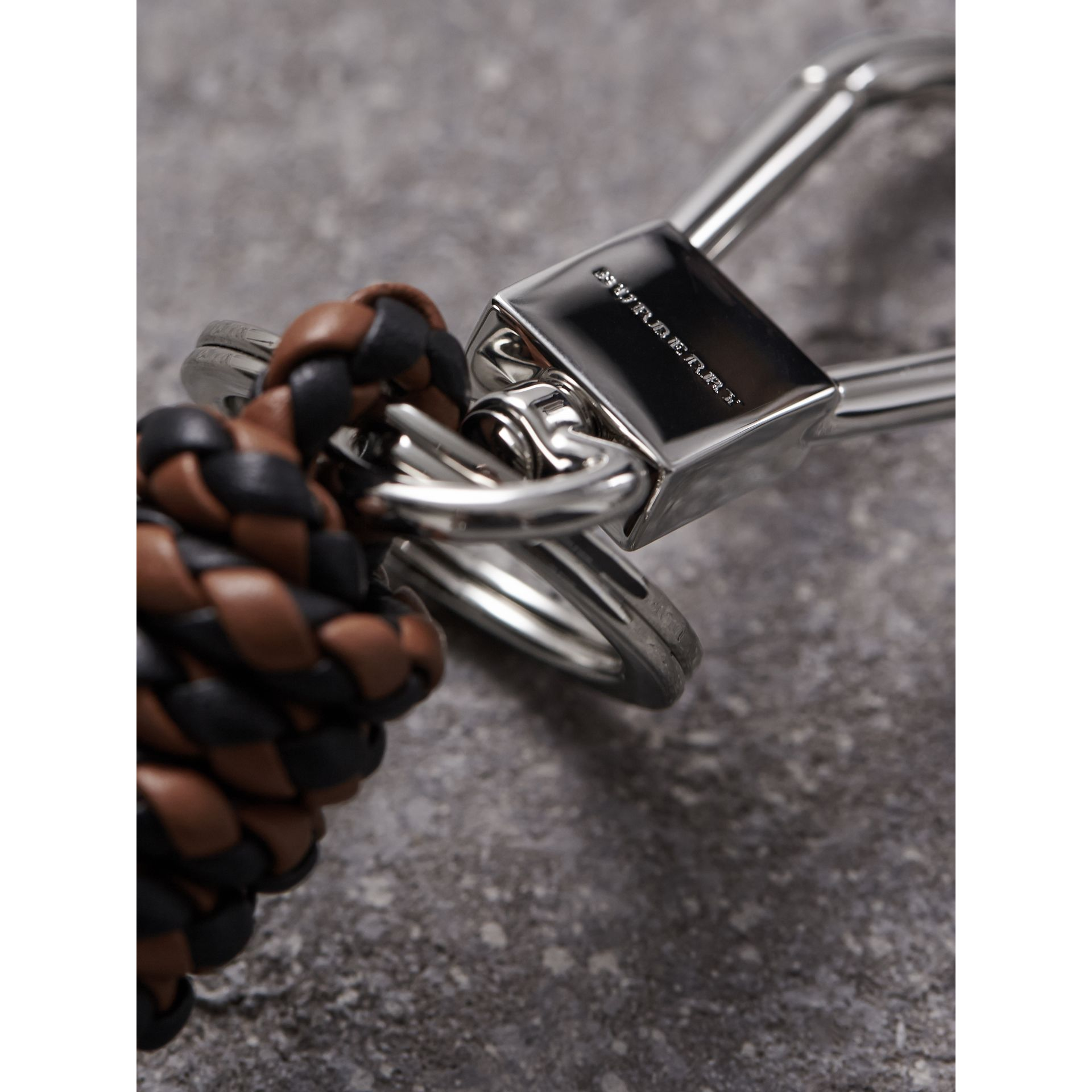 Braided Leather Knot Key Ring in Tan/black - Men | Burberry - gallery image 1