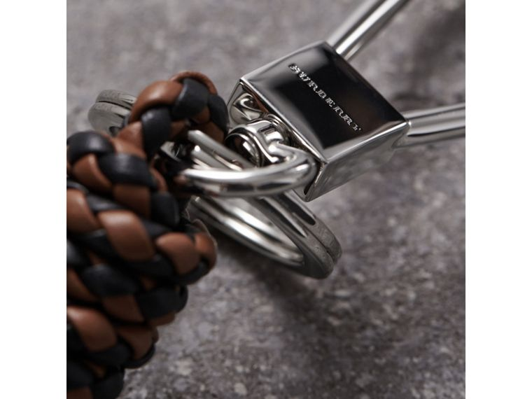 Braided Leather Knot Key Ring in Tan/black - Men | Burberry - cell image 1