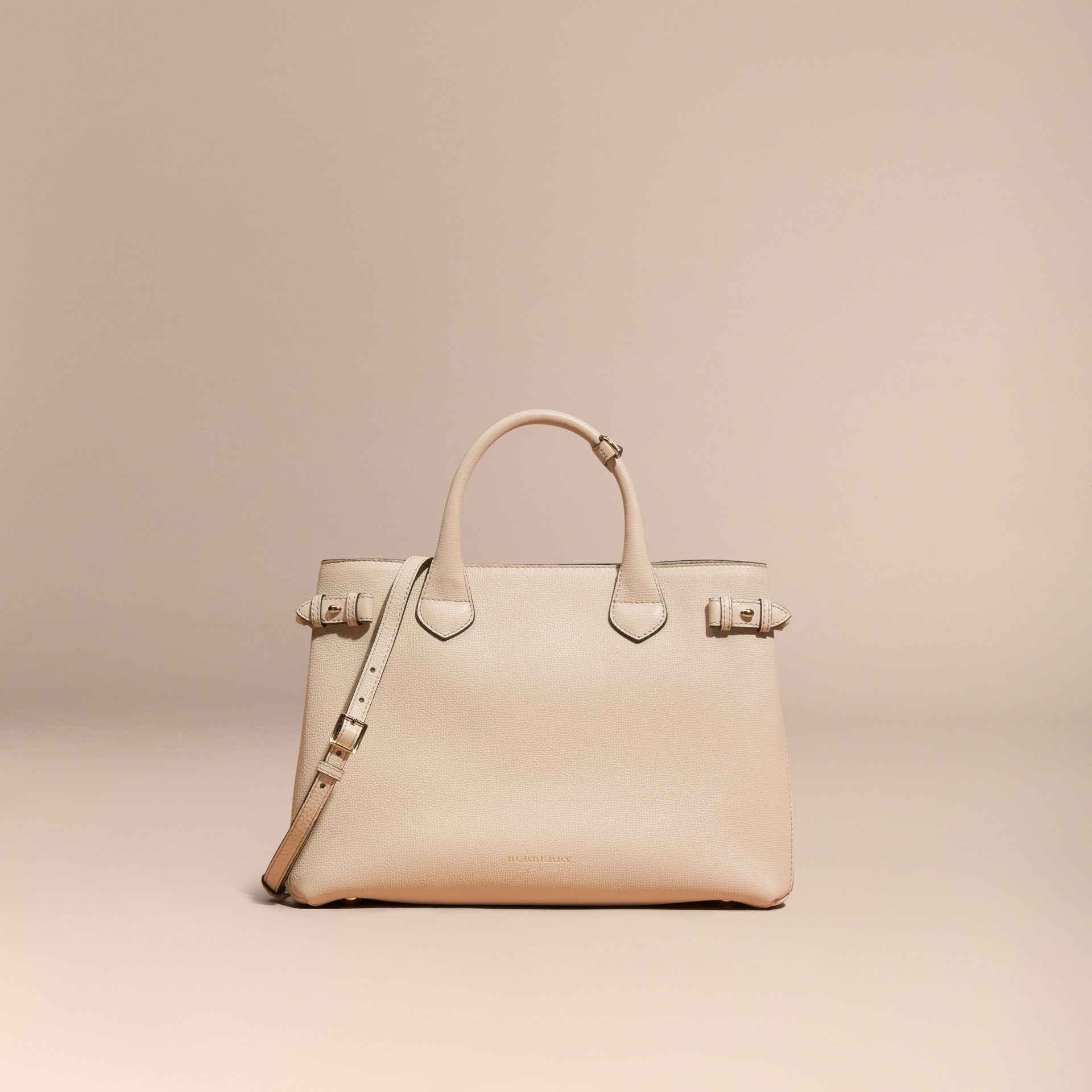 The Medium Banner in Leather and House Check in Limestone - Women | Burberry Canada - gallery image 8