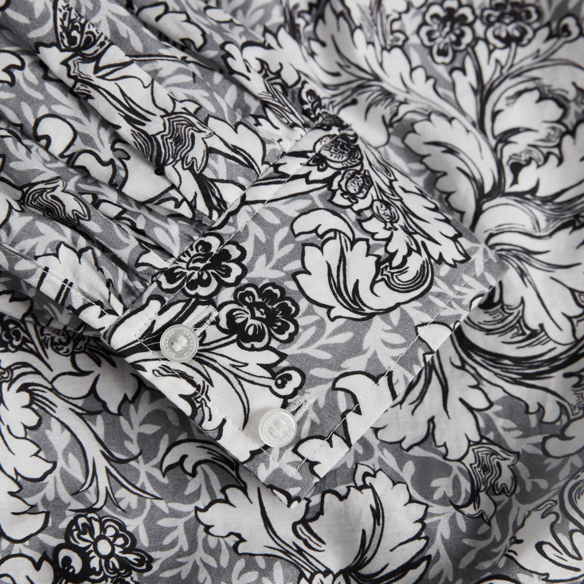 Floral Print Cotton Silk Blouse in Grey | Burberry - gallery image 1
