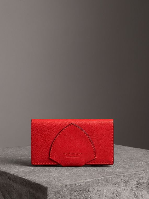 Equestrian Shield Two-tone Leather Continental Wallet in Bright Red