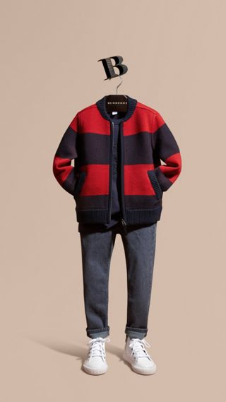 Knitted Technical Wool Cotton Bomber Jacket