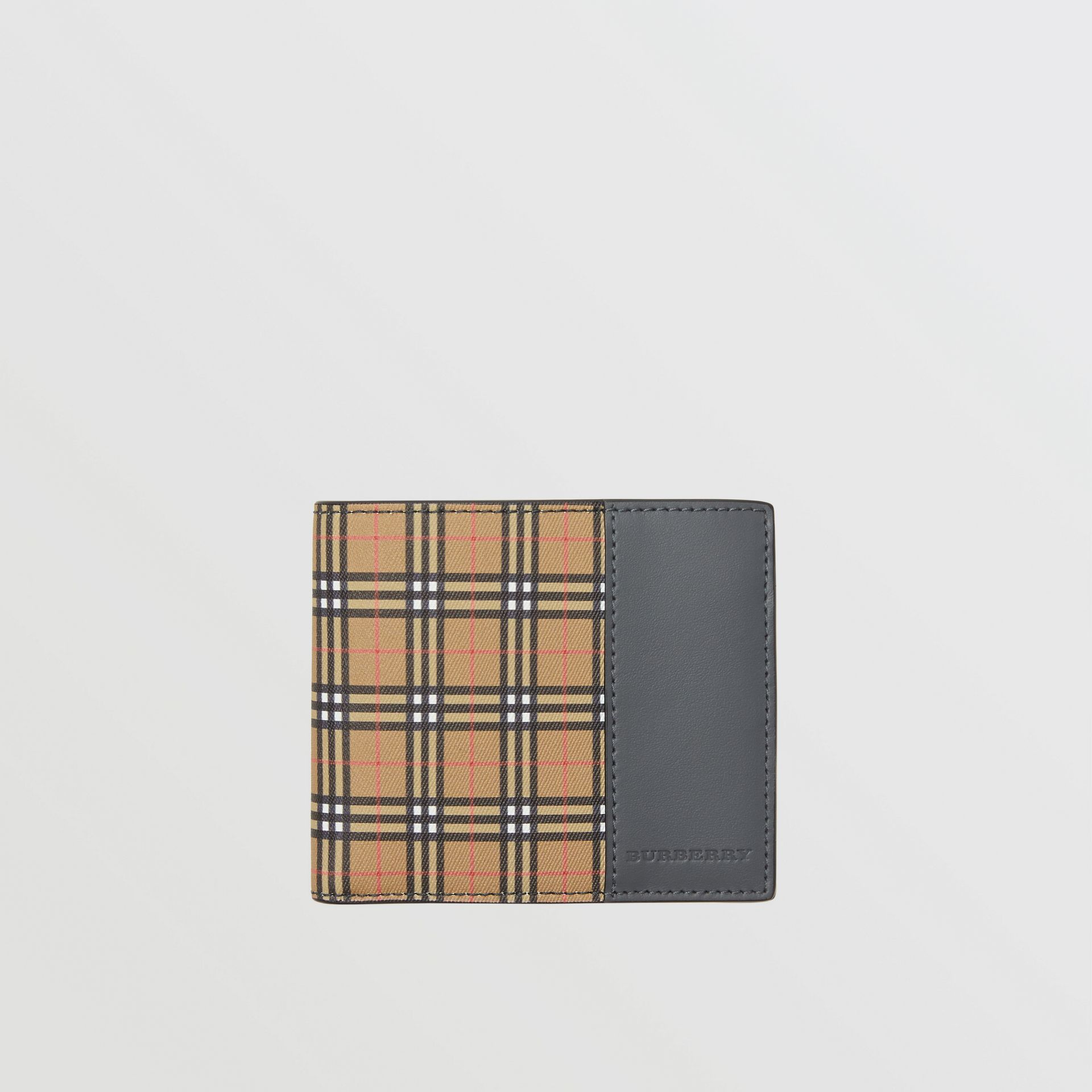 Small Scale Check International Bifold Wallet in Antique Yellow/dark Grey - Men | Burberry Singapore - gallery image 0