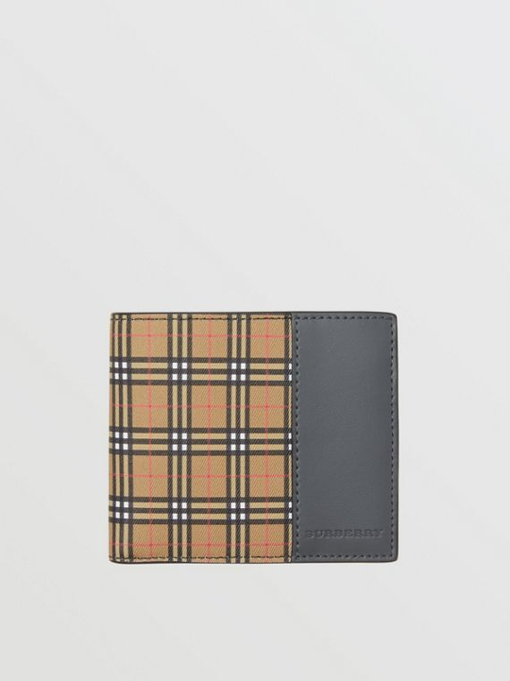 Small Scale Check International Bifold Wallet in Antique Yellow/dark Grey