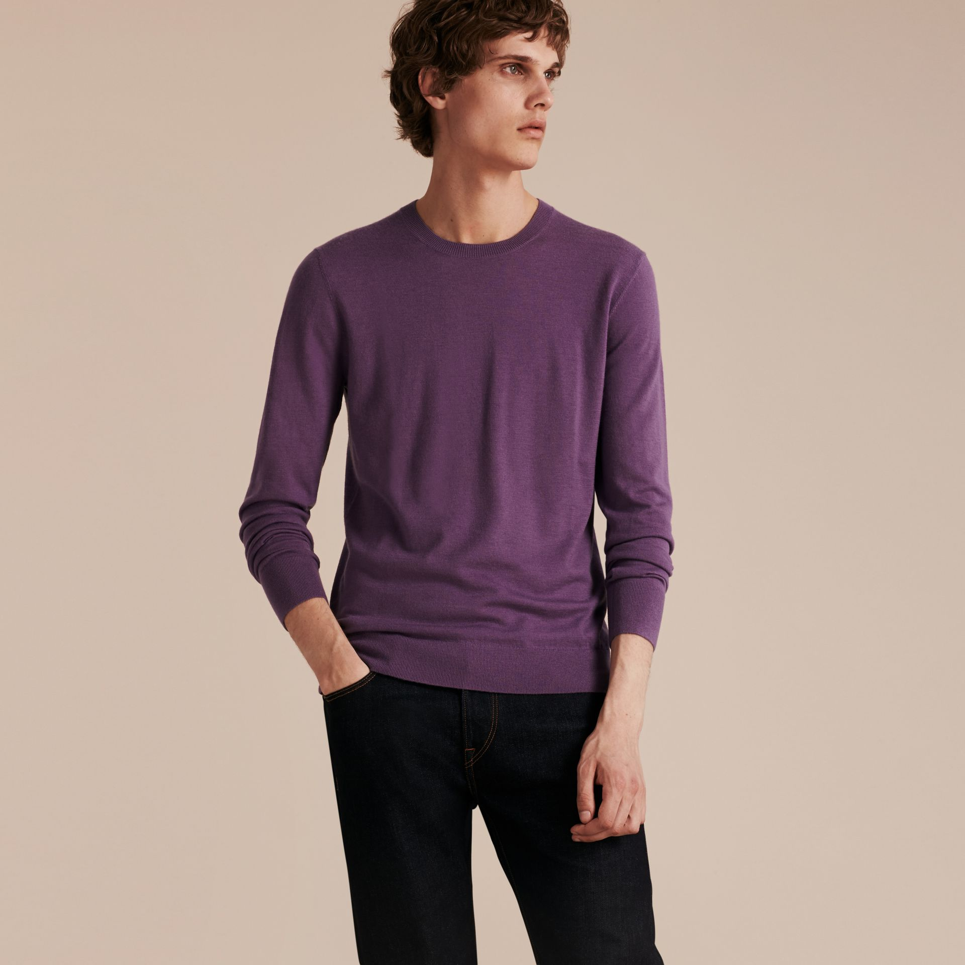 Dusty lilac Lightweight Crew Neck Cashmere Sweater with Check Trim Dusty Lilac - gallery image 6