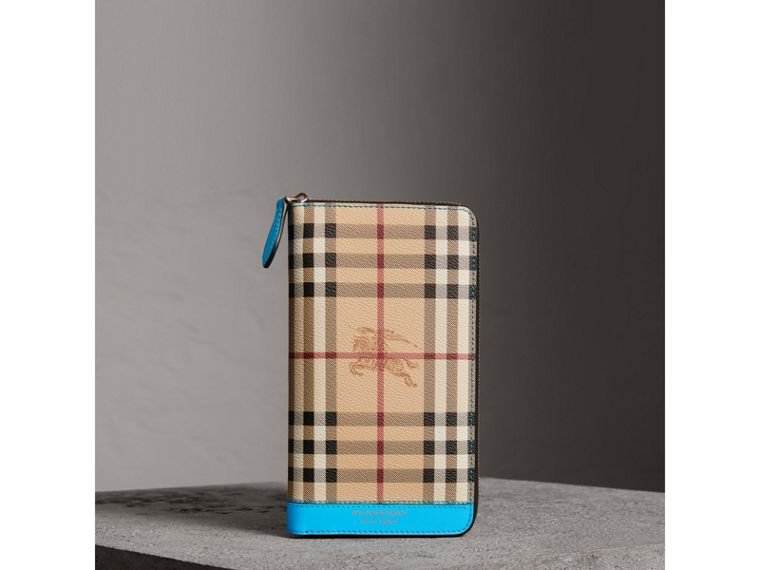 Haymarket Check and Leather Ziparound Wallet in Bright Blue - Men | Burberry - cell image 4