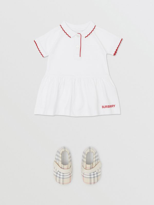 Scallop Detail Stretch Cotton Dress with Bloomers in White - Children | Burberry - cell image 2